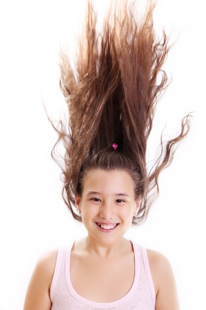 Girl with hair up over white background photo