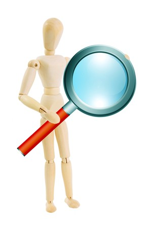 evaluating: Wooden doll with magnifying glass on hands over white background