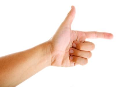 dictatorial: Mano che puntano su sfondo bianco. Immagine isolato