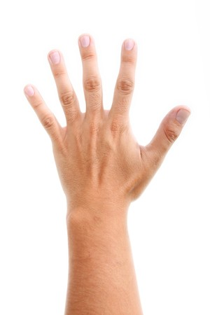ring finger: Open hand over white background. Isolated image