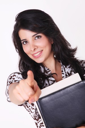 Woman looking at the camera and pointing you Stock Photo - 7549711