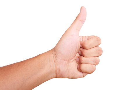 hand expressing positivity on white background. thumbs up Stock Photo - 7845499