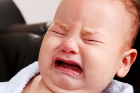 Face of a crying baby. People image photo