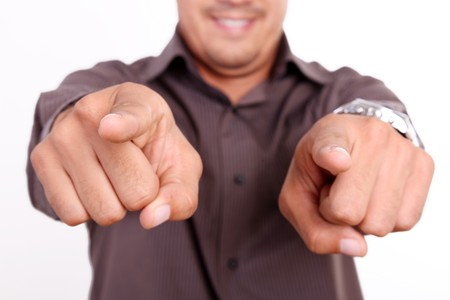 Male hands pointing at the camera, expressing positivity photo