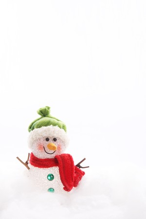 Snowman on white background, Card with space to insert text or design Stock Photo - 8153165