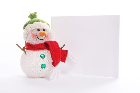 beanie: Snowman with blank banner to add text or design, Cristmas image