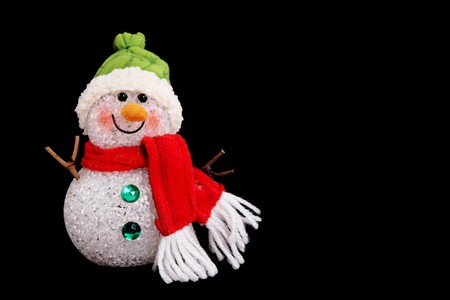 Snowman on black backround, space to insert text or design, Chritmas image photo