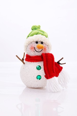 Snowman Card over white background. Vertical image Stock Photo - 8153178