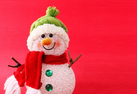 Snowman card over red background. Concept christmas Happy  photo