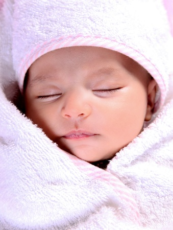 Beauty baby sleeping with white blanket, Close up photo