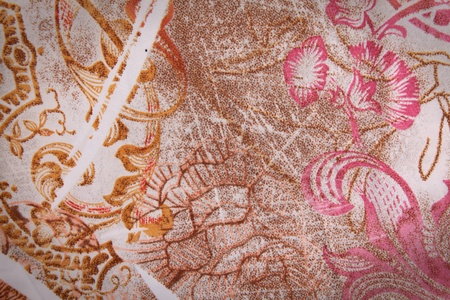 Texture textile colors with brown,pink and gold swirl and flowers Stock Photo - 8305631