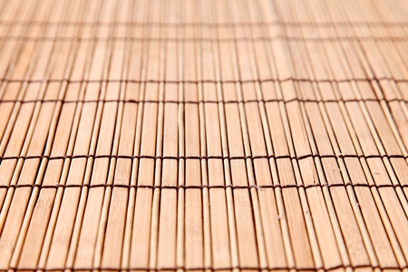 bamboo mat: Background bamboo sticks with brown thread uniting  Stock Photo