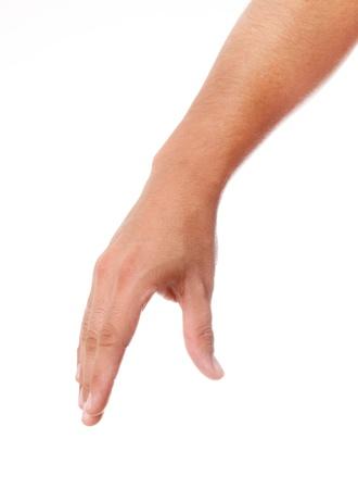 Mano sosteniendo un objeto sobre fondo blanco