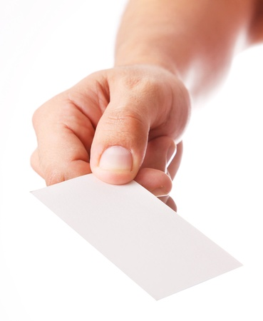 identification card: Hand delivering a blank card with space for insert text or design