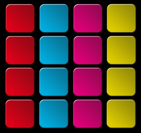 Red,blue,purple and yellow squares in line over black background photo