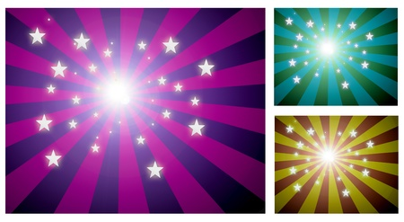 Three explosions of stars in different colors. Abstract background photo