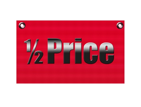 comerce: Red label half price over white background