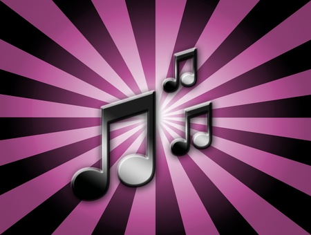 Musical notes over purple and black lines background photo