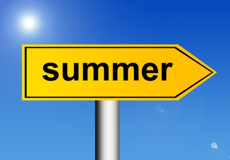 Road sign indicating the summer with  the sky background photo