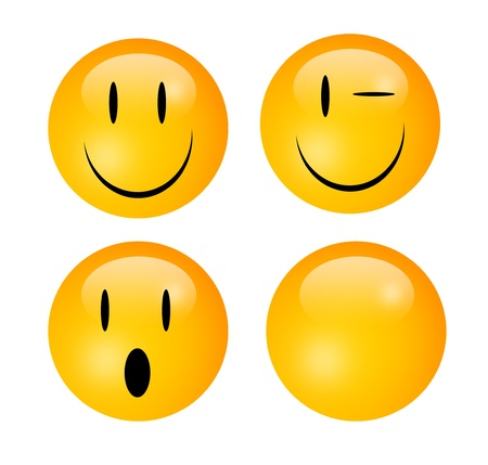 wink: Four emoticons representing happiness, wink, surprise and a blank to insert text or design