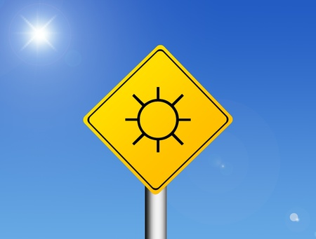 Road sign with a sun inside representing the summer Stock Photo - 8912477