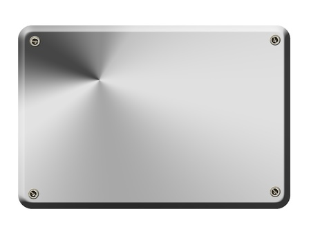 Chrome plate with hints of light and screws in the corners Stock Photo - 8912444