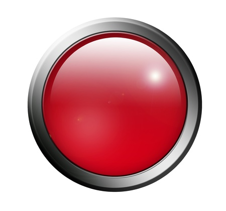 information button: Red button with chrome surround over white background Stock Photo