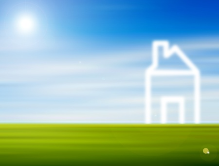 Natural landscape with the reflection outlining a house. Illustration Stock Illustration - 8912554