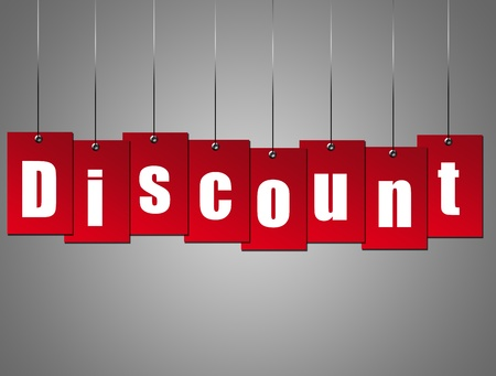 Red hangling discount advertisement over gray background. Stock Photo - 8912461