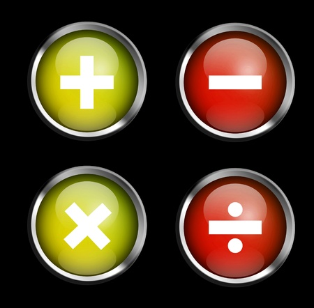 Signs of mathematical operations on buttons photo
