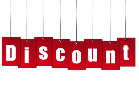 Billboard hanging  discount over white background Stock Photo - 8912425