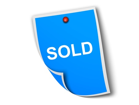 Ad sold in a memo blue over white background Stock Photo - 8912431
