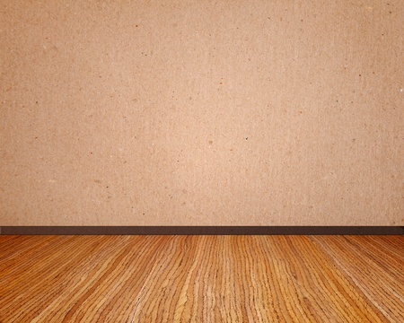 wooden insert: Beige wall with wooden floor empty to insert text or design
