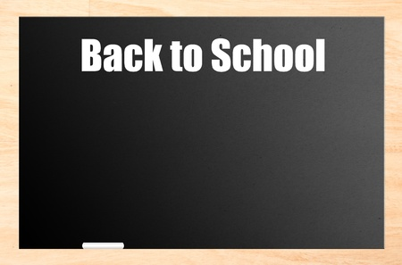 Back to school blackboard with wooden frame and white chalk. Illustration illustration