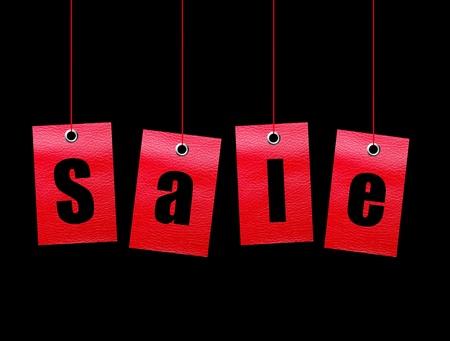 Red hanging sale labels over black background. Illustration Stock Illustration - 8912678