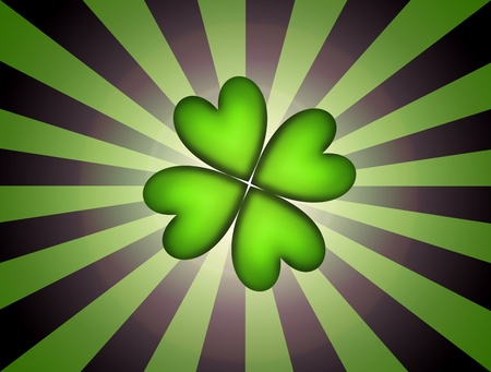 Lucky clover over over green and black lines background. Illustration Stock Illustration - 8912556