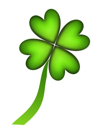 Four leaf clover representing good fortune over white background photo
