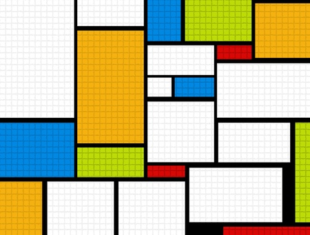 Abstract illustration with orange,blue, green,white, black and red squares