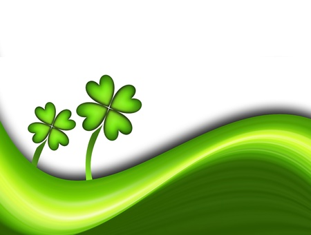 four leaved: Green dynamic waves with two lucky clover. Illustration Stock Photo