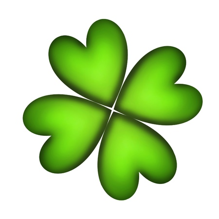 four leaved: Four Leaf Clover for good luck over white background Stock Photo