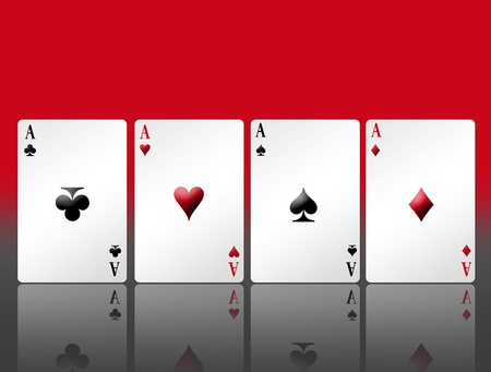 Poker card with shadow and red background. Illustration illustration