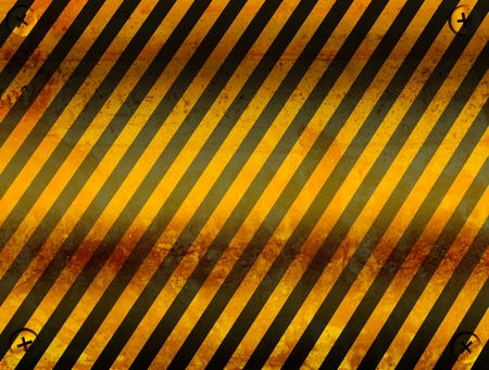 hazard stripes: Old board of cuation with black and yellow lines. Illustration