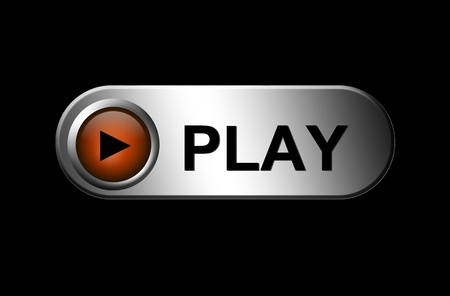 Play button on chrome frame over black background. Illustration Stock Illustration - 8912453