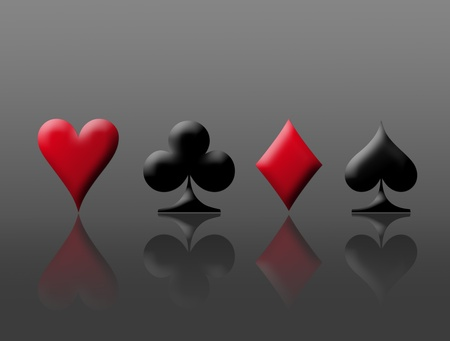 Red and black poker signs over chrome background Stock Photo - 8912448