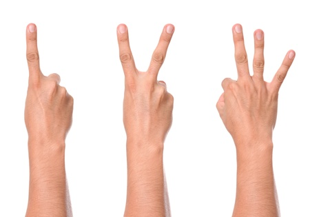 hand gesture counting from one to three photo