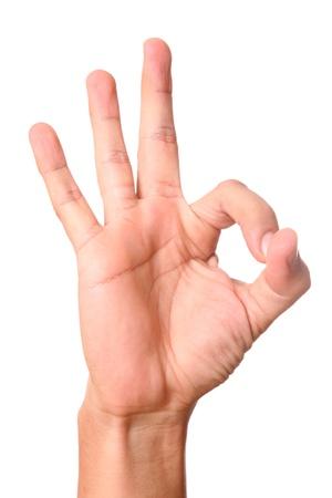 simulating: Hand simulating ok sign over white background