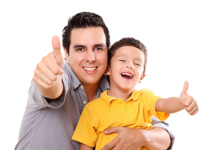 latin kids: Father and son having fun with a wave of positivism