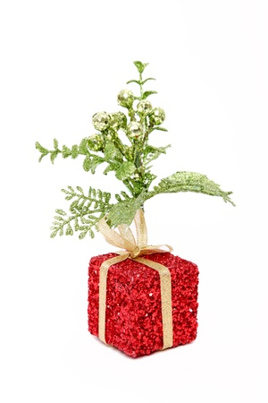 Green, red and gold christmas present over white background Stock Photo - 8912583