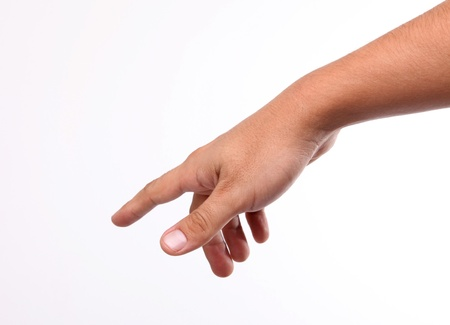 downward: Hand pointing downward with his finger saying something Stock Photo