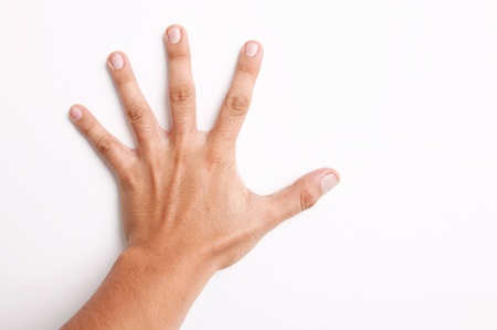 voting hands: Open hand on a white wall over white background